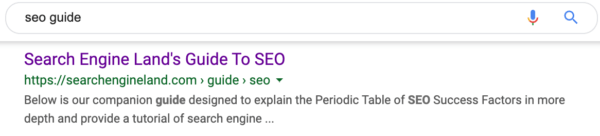 کلمات کلیدی جستجوی شده در متا توضیحات پررنگ هستند